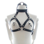 PU Leather Restraints Neck Bondage Nipple Chain Clamps Couples Fetish Erotic Adult Games Sex Toys - Adult sex toys direct