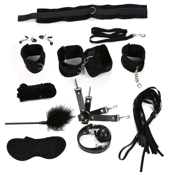 Sex Products 11 Pcs/Set BDSM Bondage Set Leather Fetish Adult Games Sex Toys for Couples Slave Game SM Product Collar Eye Mask - Adult sex toys direct