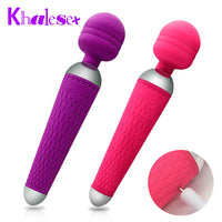 Khalesex Powerful oral clit Vibrators for Women USB Charge AV Rod Magic Wand Vibrator Massager Adult Sex Toys for Woman Masturbator - Adult sex toys direct