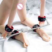 SM PU handcuffs ankle cuffs leg open wrist body restraint bondage set with detachable steel pipes adult game Sex Toy for couples - Adult sex toys direct