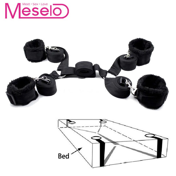 Meselo 1 Set bdsm Bondage Strap Plush Cuffs Under Bed Harness Strap Wrists & Ankle Cuffs Adult SM Sex Toys For Couple Flirting - Adult sex toys direct