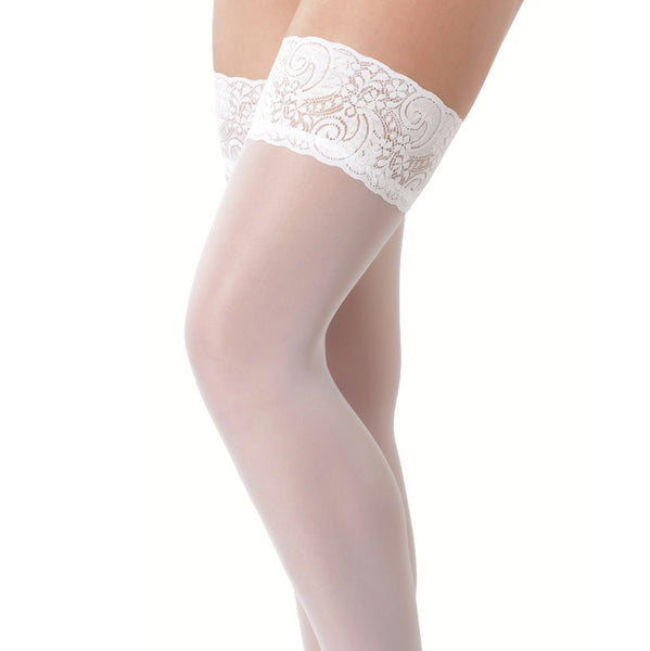 White HoldUp Stockings With Floral Lace Top - Adult sex toys direct