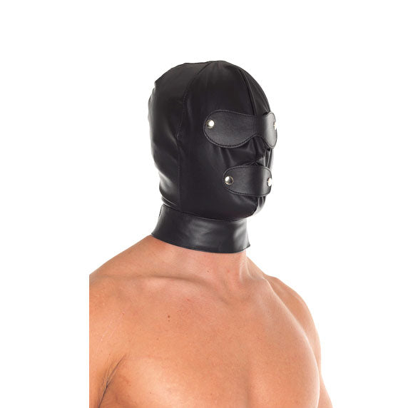 Leather Full Face Mask With Detachable Blinkers - Adult sex toys direct