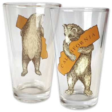 California Bear Hug Pint Glass - Oakland Museum of California Store
