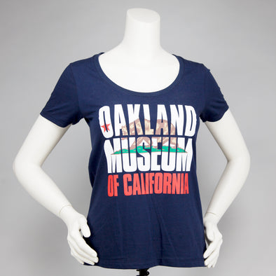 OMCA State Flag Woman's V-Neck Tee - Oakland Museum of California Store