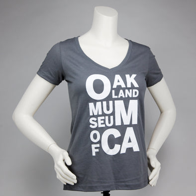 OMCA Logo V-Neck Tee - Gray - Oakland Museum of California Store