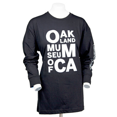 OMCA Logo Long Sleeve Crew Neck w Sleeve Imprint - Black - Oakland Museum of California Store
