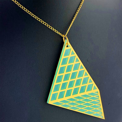 Cour Necklace - Frosted Teal and Gold
