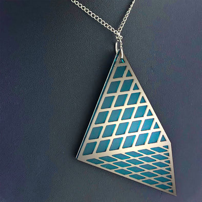 Cour Necklace – Frosted Dark Teal and Silver