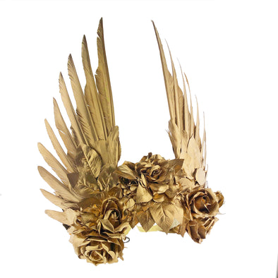 Rose Gold Wings and Roses Headpiece