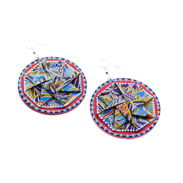 Hand Painted Wood & Origami Earring - Oakland Museum of California Store