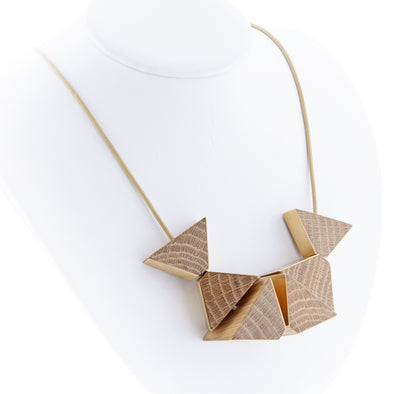 Nevelson Prism Necklace in Brass - Oakland Museum of California Store