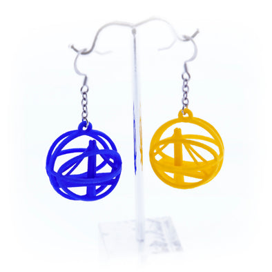Warriors Logo 3-D Printed Earrings - Oakland Museum of California Store