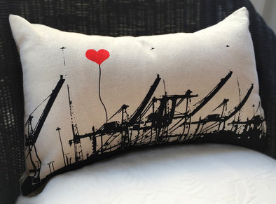 Crane Pillow - Oakland Lovers, 10 x 18 - Oakland Museum of California Store