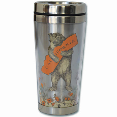 California Bear & Poppy Travel Mug - Oakland Museum of California Store