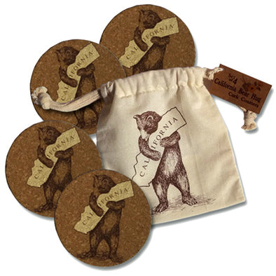 California Bear Cork Coasters - Oakland Museum of California Store