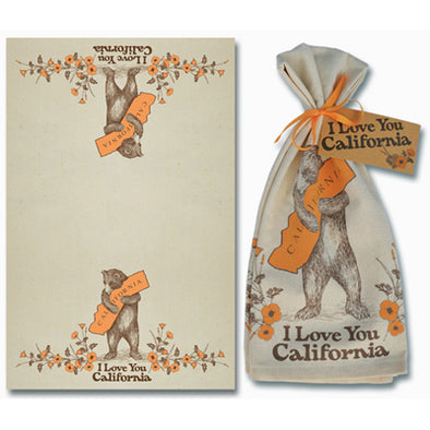 California Bear & Poppy Cotton Tea Towel - Oakland Museum of California Store