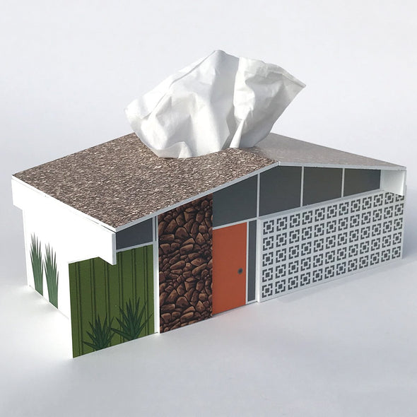 Midcentury House Tissue Box Cover