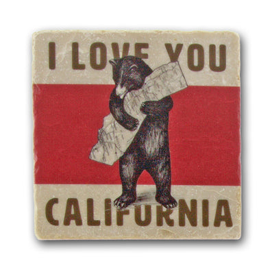 California Bear Hug - Italian Marble Coaster - Oakland Museum of California Store