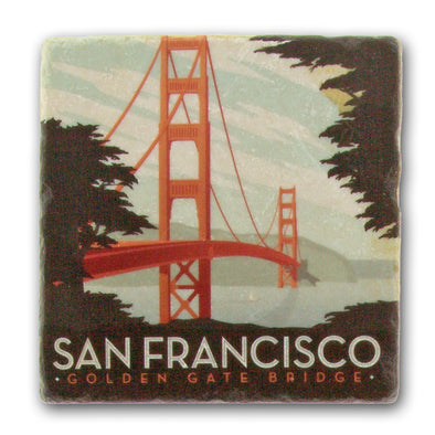 The Golden Gate Bridge - Italian Marble Coaster - Oakland Museum of California Store