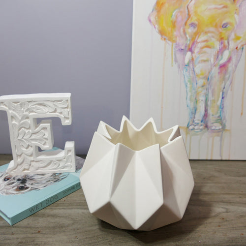Decor Garden - Geometric Vase Series - Geometric Table Vase - White