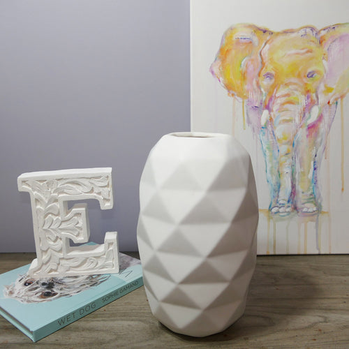 Decor Garden - Geometric Vase Series - Medium Table Vase - White