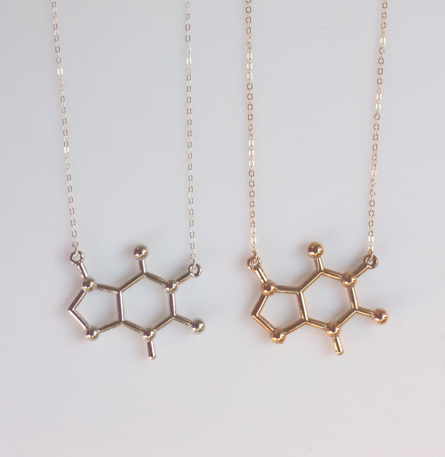 Caffeine Molecule Pendant with Necklace B9KQfcN85k