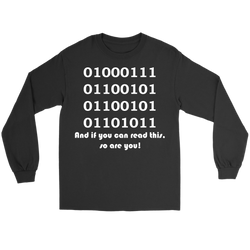 GearLogic - Science Jewelry & Science Shirts | Binary Geek Long Tee