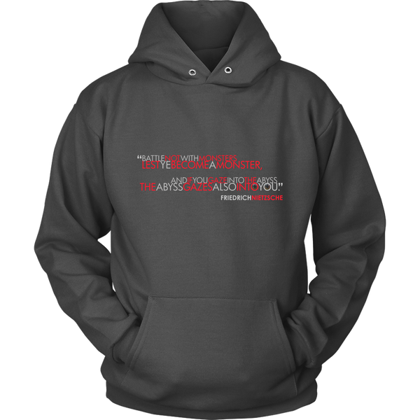 GearLogic - Science Jewelry & Science Shirts | Nietzsche The Abyss Stares Back Hoodie