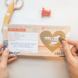 Tropical style boarding pass scratch card for surprise trip reveal holiday destination