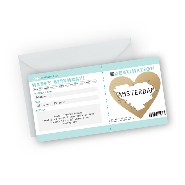 Teal Happy Birthday Boarding Pass