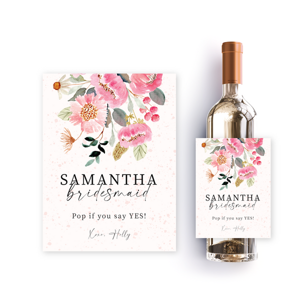 Pink Floral bridesmaid proposal label