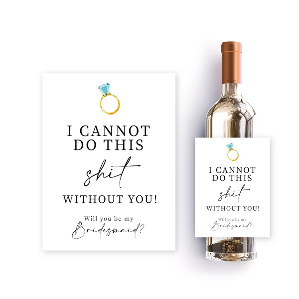 Bridesmaid proposal wine labels to include in bridal party proposal box. Cute watercolour engagement ring design