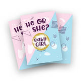 Pink or Blue Gender reveal scratch off card game for baby shower or gneder reveal parties, gender neutral game pack to reveal the gender of a new baby