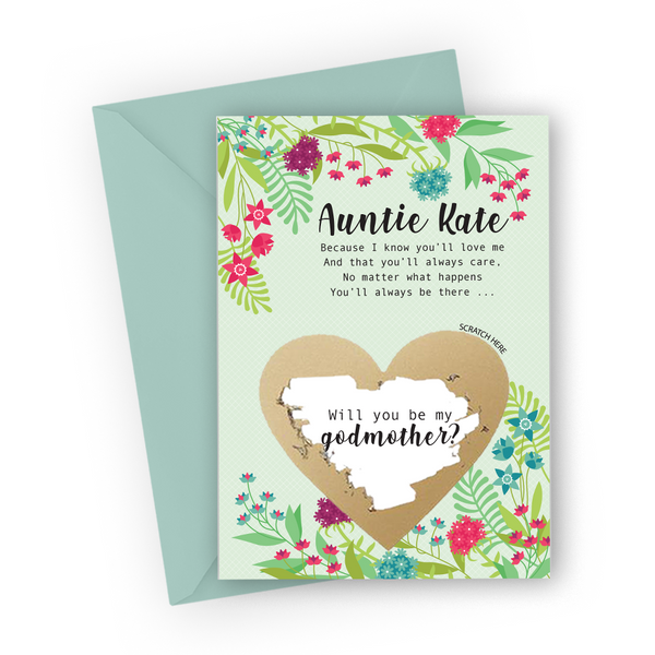 Green Floral Godmother Scratch Card