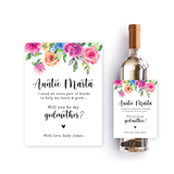 Watercolor godmother wine label