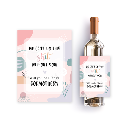Funny godmother wine label