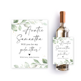 Greenery godmother wine label