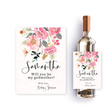 Personalised wine label with watercolor pink flowers, for godmother proposal
