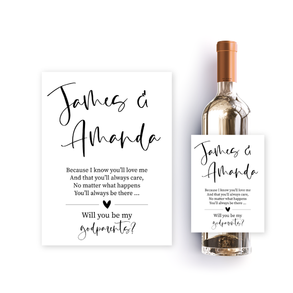 Simple calligraphy godparents label