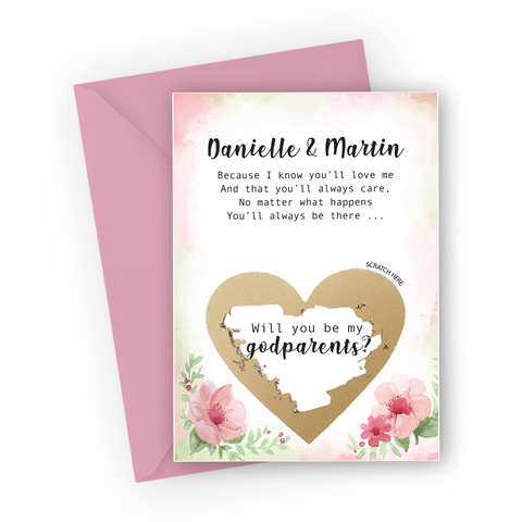 Floral Godparents Scratch Card