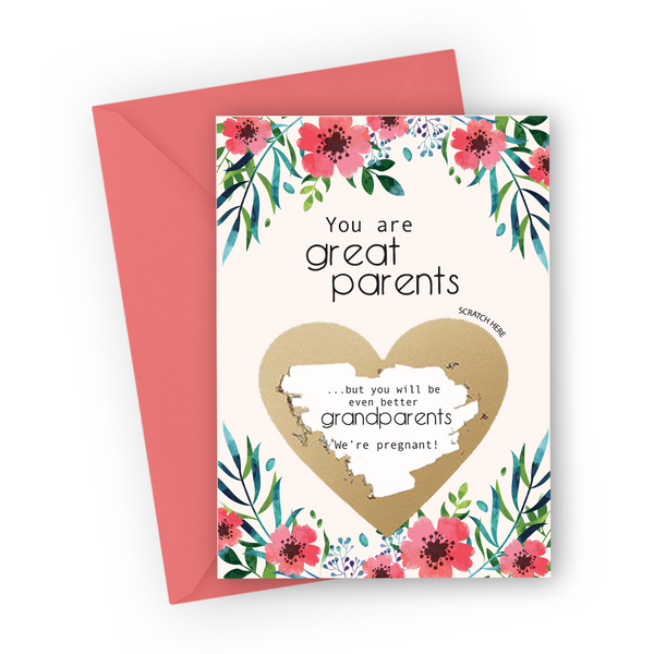 Red Flowers Grandparents Scratch Card