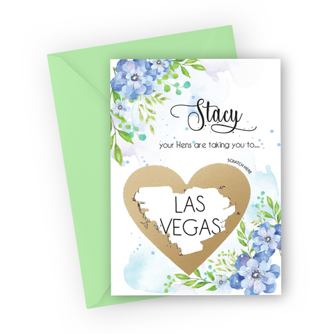 Blue Flowers Hen Party Scratch Card