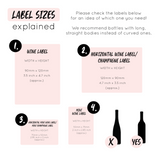 Label sizes explained for wine and champagne bottles, includes standard and mini bottle information