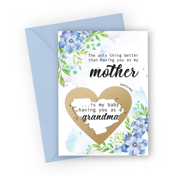 Blue Flowers Grandma Scratch Card