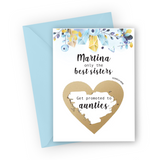 Pale Blue Gems Pregnancy Scratch Card for Sister