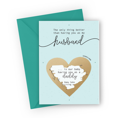 Light Mint Pregnancy Scratch Card for Husband