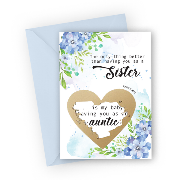 Blue Flowers Pregnancy Scratch Card for Sister