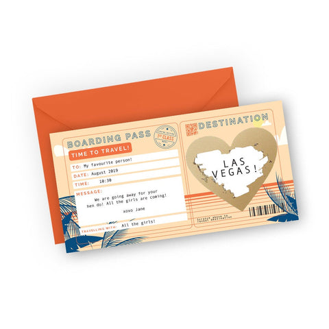 Tropical sun orange boarding pass scratch card for surprise trip reveal