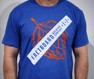 Unisex - Blue Fretboard T-Shirt with Orange Hop Logo